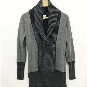 Cache Cowl Neck Faux Wrap Sweater Long Sleeves